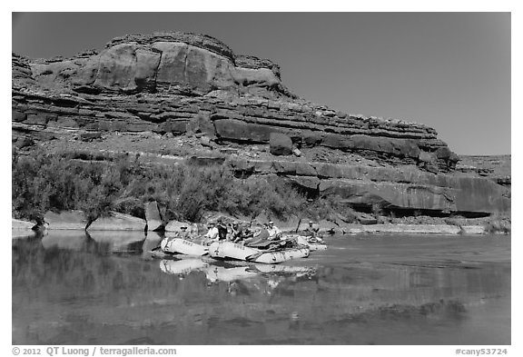 Rafts and cliffs, Colorado River. Canyonlands National Park (black and white)