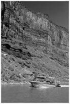 Jetboat and cliffs, Colorado River. Canyonlands National Park, Utah, USA. (black and white)
