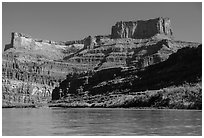 Dead Horse point seen from Colorado River. Canyonlands National Park ( black and white)