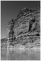 Red cliffs above Colorado River. Canyonlands National Park, Utah, USA. (black and white)