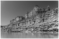Multicolored cliffs and Colorado River. Canyonlands National Park ( black and white)