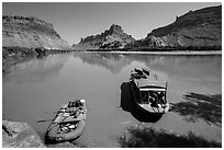 Jetboat and raft on Colorado River. Canyonlands National Park, Utah, USA. (black and white)