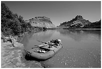 Raft on banks of the Colorado River. Canyonlands National Park, Utah, USA. (black and white)