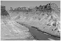 Distant views of rafts floating Colorado River. Canyonlands National Park, Utah, USA. (black and white)