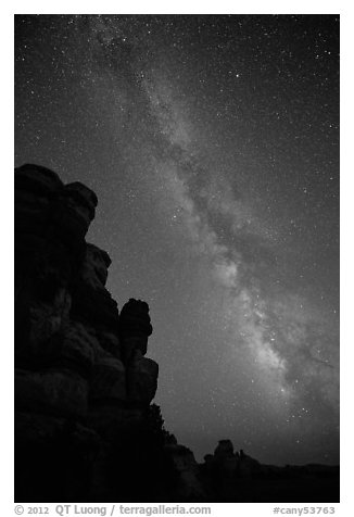 Doll House pinnacles and Milky Way. Canyonlands National Park (black and white)