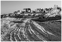 Sandstone swirls and Doll House spires, early morning. Canyonlands National Park, Utah, USA. (black and white)