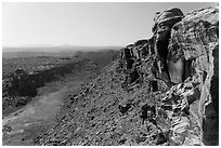 Cliffs and Surprise Valley, Maze District. Canyonlands National Park ( black and white)