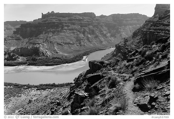 Trail overlooking Colorado River. Canyonlands National Park (black and white)