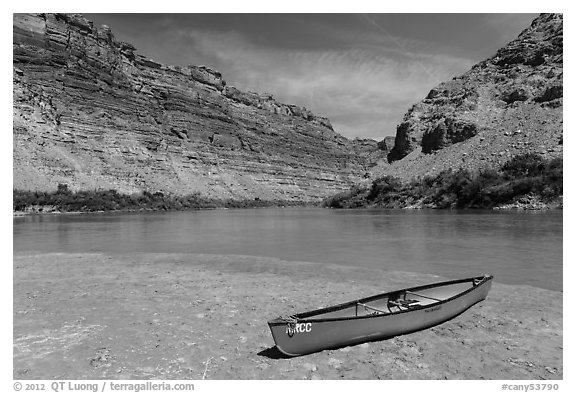 Red Canoe on beach near Confluence. Canyonlands National Park (black and white)