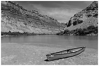 Red Canoe on beach near Confluence. Canyonlands National Park ( black and white)