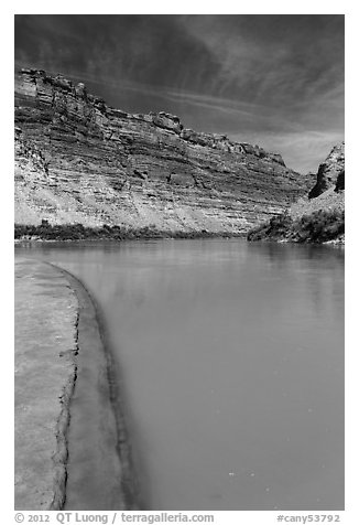 Colorado River beach shore near Confluence with Green River. Canyonlands National Park (black and white)