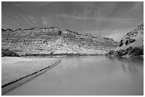 Colorado River and shore near its confluence with Green River. Canyonlands National Park ( black and white)