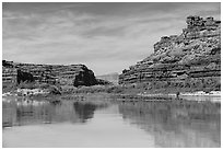 River view, Colorado River. Canyonlands National Park, Utah, USA. (black and white)
