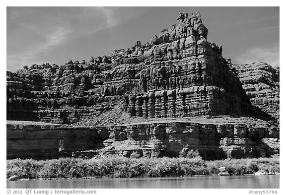 Flutted cliffs above Colorado River. Canyonlands National Park (black and white)