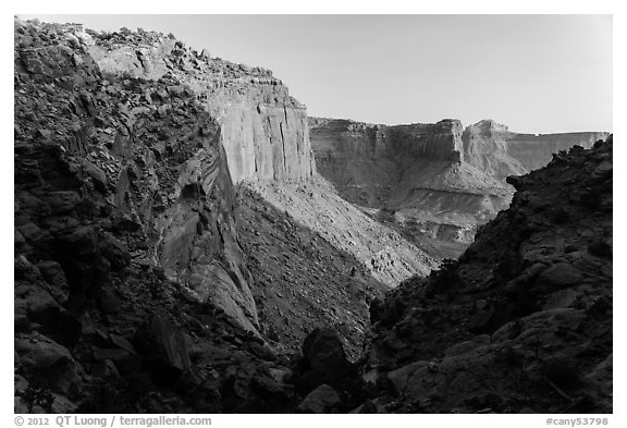 Cliffs at sunset, Island in the Sky. Canyonlands National Park (black and white)