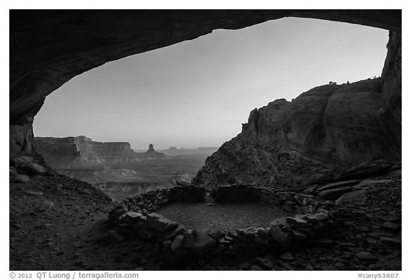 Alcove with False Kiva at sunset. Canyonlands National Park (black and white)