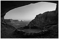 Alcove with False Kiva at sunset. Canyonlands National Park, Utah, USA. (black and white)