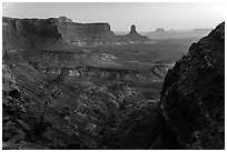 Cliffs and Candlestick Butte at dusk. Canyonlands National Park, Utah, USA. (black and white)