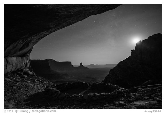 False Kiva, moon, and stars. Canyonlands National Park (black and white)