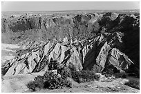 Person looking, Upheaval Dome. Canyonlands National Park, Utah, USA. (black and white)