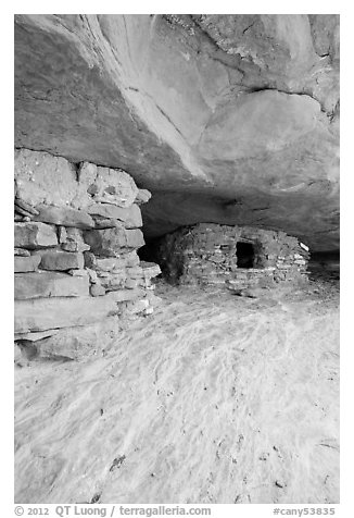 Aztec Butte granary, Island in the Sky District. Canyonlands National Park (black and white)