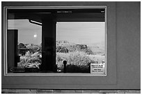 Canyons, Island in the Sky Visitor Center window reflexion. Canyonlands National Park, Utah, USA. (black and white)