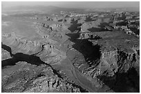 Aerial view of Taylor Canyon. Canyonlands National Park, Utah, USA. (black and white)