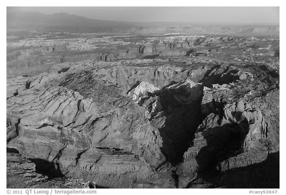 Aerial view of Upheaval Dome. Canyonlands National Park (black and white)