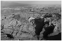 Aerial view of Upheaval Dome. Canyonlands National Park, Utah, USA. (black and white)