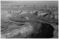 Aerial view of Bonita Bend. Canyonlands National Park ( black and white)