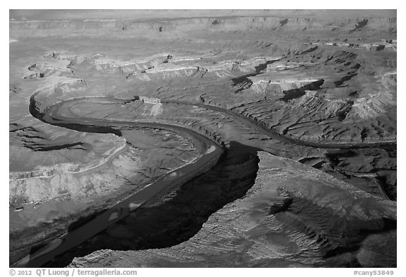 Aerial view of Green River. Canyonlands National Park (black and white)