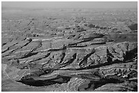 Aerial view of Petes Mesa. Canyonlands National Park ( black and white)