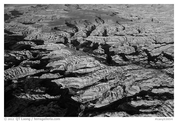 Aerial view of the Maze and Chocolate Drops. Canyonlands National Park (black and white)