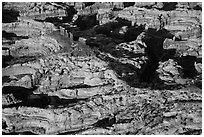Aerial view of Chocolate Drops. Canyonlands National Park, Utah, USA. (black and white)