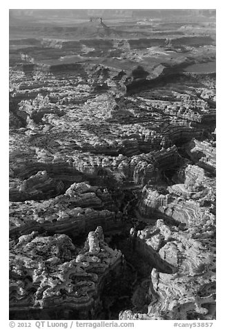 Aerial view of Maze and Elaterite Butte. Canyonlands National Park (black and white)