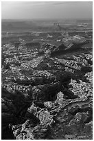 Aerial view of Maze District. Canyonlands National Park, Utah, USA. (black and white)