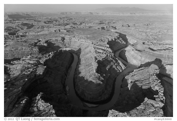 Aerial view of the Confluence. Canyonlands National Park (black and white)