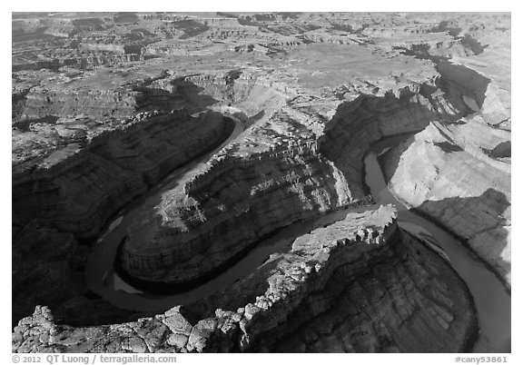 Aerial view of confluence of Green and Colorado River. Canyonlands National Park (black and white)