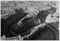 Aerial view of confluence of Green and Colorado River. Canyonlands National Park, Utah, USA. (black and white)