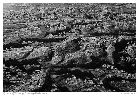 Aerial view of Needles District. Canyonlands National Park (black and white)