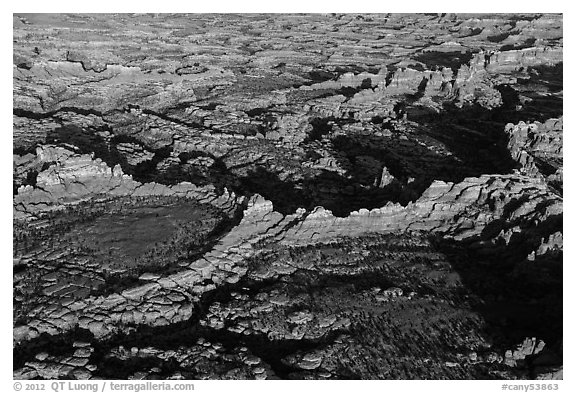 Aerial view of Needles. Canyonlands National Park (black and white)