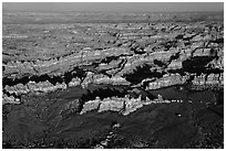 Aerial view of Chesler Park. Canyonlands National Park, Utah, USA. (black and white)