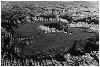 Aerial view of Chesler Park and Needles. Canyonlands National Park, Utah, USA. (black and white)