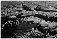 Aerial view of spires and walls, Needles District. Canyonlands National Park, Utah, USA. (black and white)