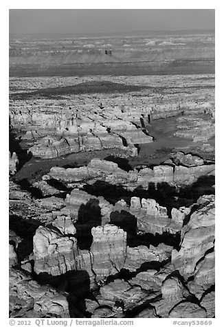 Aerial view of spires and canyons, Needles. Canyonlands National Park (black and white)
