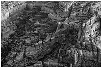 Aerial view of Angel Arch. Canyonlands National Park, Utah, USA. (black and white)