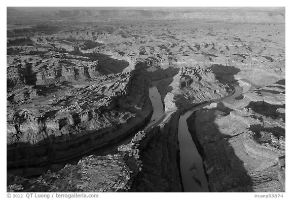 Aerial view of the Loop. Canyonlands National Park (black and white)