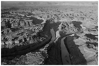 Aerial view of the Loop. Canyonlands National Park, Utah, USA. (black and white)