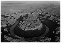 Aerial view of the Loop goosenecks. Canyonlands National Park, Utah, USA. (black and white)