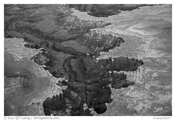 Aerial view of White Rim. Canyonlands National Park (black and white)